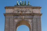 Victory Arch is popularly known as Moncloa Gate, Madrid, Spain  - 220196818