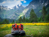 hiking boots and mountains landscape - 220197285
