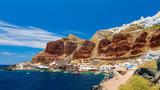 Old port of Oia village at Santorini island in aegean sea, Greece. - 220197619