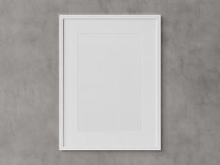 White rectangular vertical frame hanging on a white wall mockup 3D rendering © sdecoret
