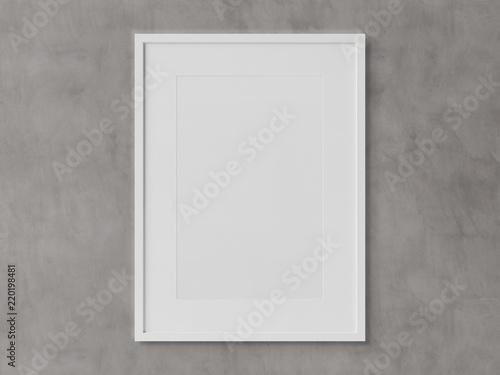 Biała prostokątna vertical ramy obwieszenie na białym ściennym mockup 3D renderingu