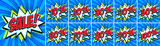 Big Blue sale set. Sale inscription and all percent numbers. Blue and red colors. Pop-art comics style web banners, flash animation, stickers, tags.