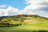 Beautiful view of Pienza on a Tuscany hill, Italy. - 220202497