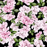 Beautiful watercolor pattern with peony flowers.  - 220208888