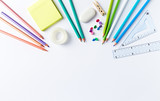 School supplies on white background. Flatlay. Copy space. Symbolic image - 220217840