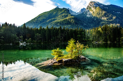 Lake Hintersee in the Bavarian Alps near Berchtesgaden