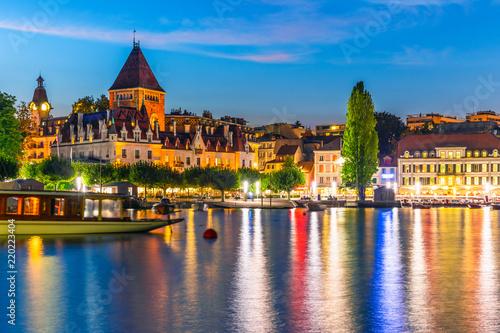 Night view of Lausanne, Switzerland
