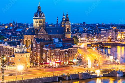 Leinwandbild Motiv Night view of Amsterdam, Netherlands