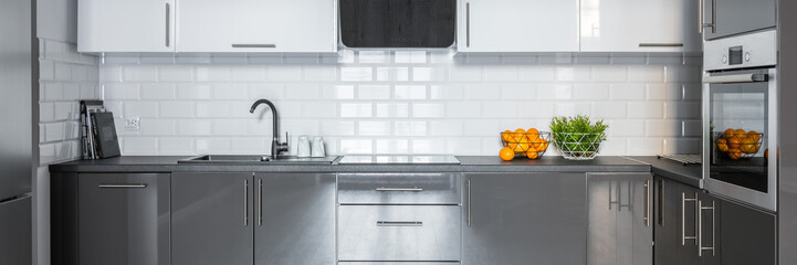 Kitchen with metro tiles