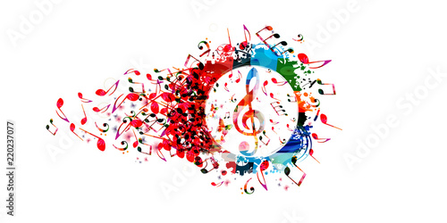 Music colorful background with music notes and G-clef vector illustration design. Artistic music festival poster, live concert, creative treble clef design