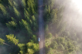 Aerial landscape of the mountain road, at sunrise - 220238616
