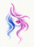 beautiful woman. fashion illustration. watercolor painting - 220242267