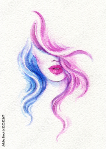Poster beautiful woman. fashion illustration. watercolor painting