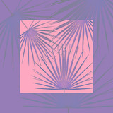 Pop background with purple leaves on pastel pink
