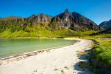 Norway. Senja island. Northern beach with white sand.