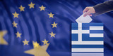 Hand inserting an envelope in a Greece flag ballot box on European Union flag background. 3d illustration