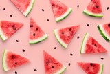 Watermelon slices pattern viewed from above. Top view. Summer concept. - 220263668