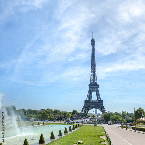 Eiffel Tower And Trocadero Fountains In Paris France Romantic Travel Commercial Background No