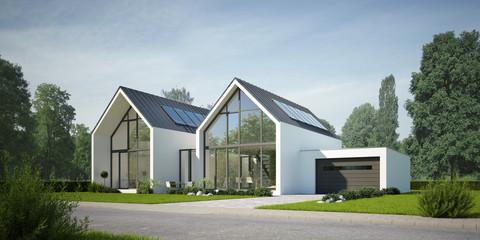 Doppelhaus Zinkdach weiss © KB3