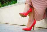 Red high heel classic shoes outdoor - 220273627