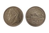 Greek 50 drachmas coin dated 1988 with a portrait image of Homer reverse ancient sailing boat cut out and isolated on a white background - 220275675