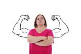 femme forte avec muscles dessinés - 220281094