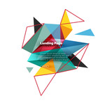 Triangular design abstract background, landing page. Low poly style colorful triangles on white - 220286225
