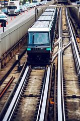 Paris, France. Metro trains in the Charles de Gaulle avenue near La Defense
