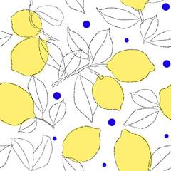 Lemon pattern. Hand drawn lemon repeat pattern © Gabriela