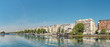 Panoramic image of Paris modern architecture in Paris with and Seine river