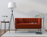 Interior with red velor sofa - 220292829