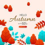 Autumn 50% sale. Promotion card with color leaves. - 220298000