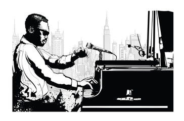 Jazz pianist in New York © Isaxar