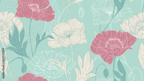Seamless pattern, hand drawn pastel poppy flowers with leaves on green background - 220332039