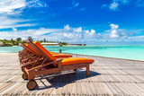 Wooden sunbed in the Maldives - 220339428