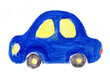 Child's drawing car. Watercolor illustration isolated on white background.