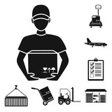 Logistics service black icons in set collection for design. Logistics and equipment vector symbol stock web illustration. - 220343627