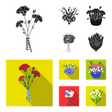 A bouquet of fresh flowers black,flat icons in set collection for design. Various bouquets vector symbol stock web illustration.
