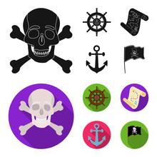 Pirate Bandit Rudder Flag Pirates Set  Icons In Blackflat Style  Symbol Stock Illustration Web Sticker