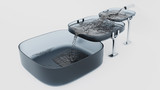 Three Grey Square Bowls where Water filling up - 220350219