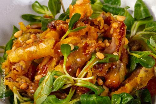 Fototapeta Duck tempura with salad