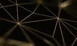 Gold triangle pattern line on black background. Premium luxury geometric pattern. Triangular golden light seamless texture - 220366228