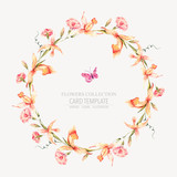 Vector vintage floral round wreath with yellow orchids  - 220370814
