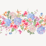 Vector vintage floral greeting card with hydrangeas, orchids - 220371227