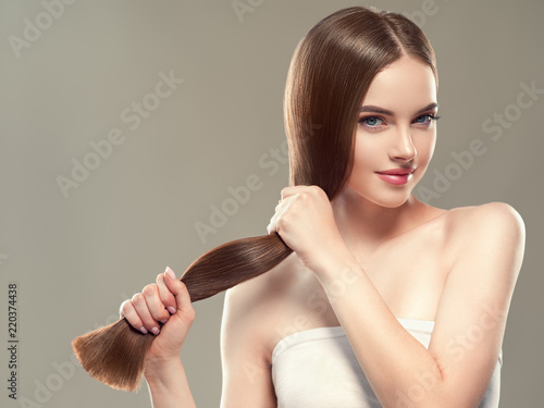 Healthy hair long smooth brunette hairstyle woman beauty