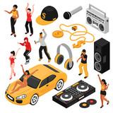 Rap Music Isometric Set  - 220376841
