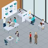 Staff At Office Isometric Illustration - 220377446