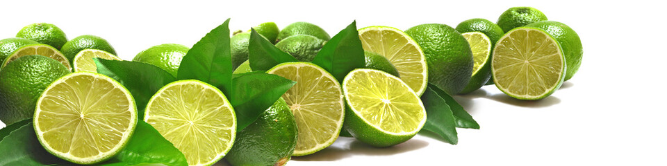 Pieces of juicy lime on white background