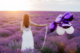 Happy young woman in lavender field at the sunset. Freedom concept. - 220378411