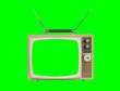 Leinwandbild Motiv 1960s Television with Antennas and Chroma Green Background and Screen